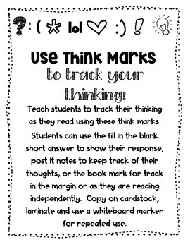 Think Marks for Tracking Thinking- Book Marks and Post it Notes