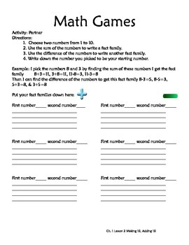 Think Math Games/Activities/Extension Ideas