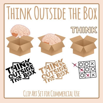 Think Outside the Box - Creative Mentality Clip Art for Commercial Use