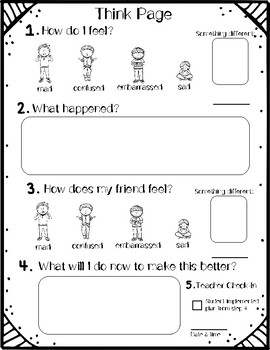 Think Pages: Reflection worksheetsto help studentsmake improvements after a be