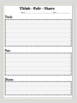Think - Pair- Share Blank fillout for any subject