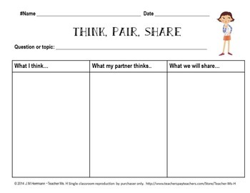 Think, Pair, Share Graphic Organizer FREE by Teacher Ms H | TpT