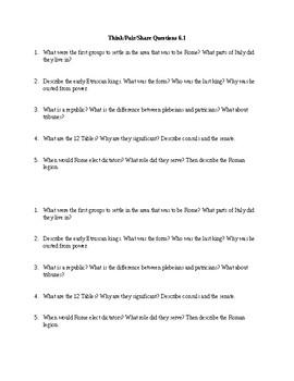 Think-Pair-Share Roman Republic Questions