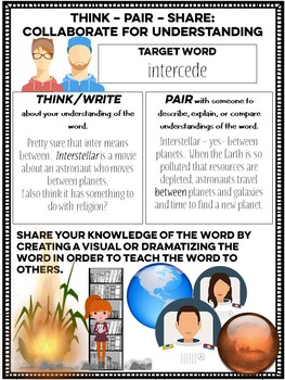 Think Pair Share Vocabulary Exercise Handouts
