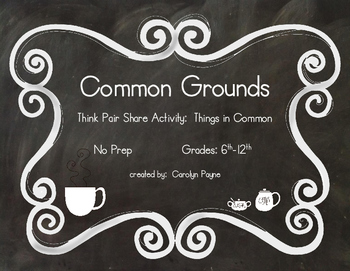 Think Pair Share and Writing Activities:  Common Grounds