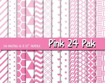Think Pink! Patterns and Digital Papers for Fun! 12 x 12, 300 DPI - 24 pps.