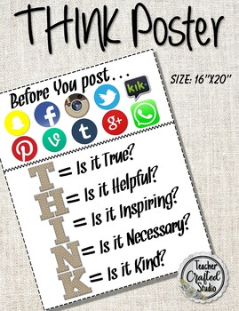 Think Poster - Technology Think Before You Speak Poster