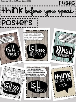 Think Posters: Think Before You Speak Posters { Rustic }