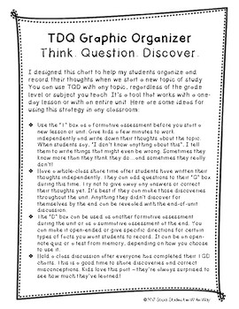 Think. Question. Discover. Graphic Organizer