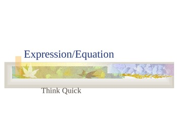 Think Quick Powerpoint: Expressions/Equations