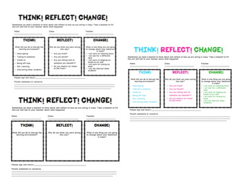 Think! Reflect! Change! Behaviour reflection resource