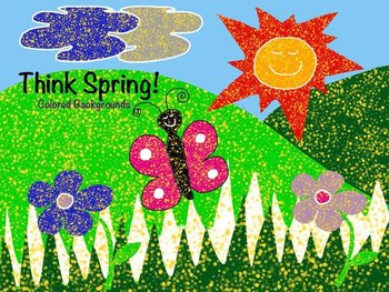 Think SPRING! 14 Colored Background PNGs & JPGs plus freebie
