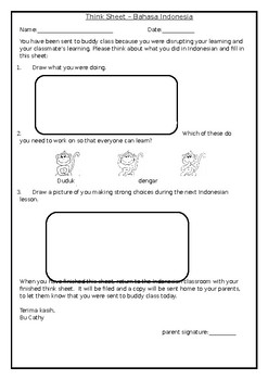 Think Sheet # 2 (for preliterate students)