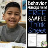 Behavior Management Think Sheet FREEBIE Sample