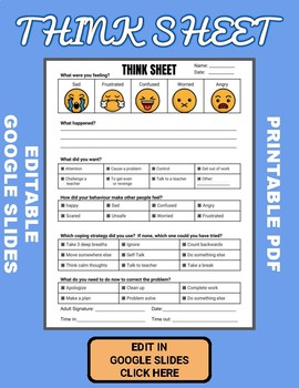 Think Sheet (Editable in Google Slides)