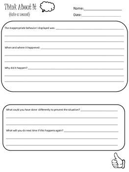 Think Sheet Reflection  Behavior Reflection