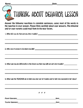 Think Sheet & Thinking About Behavior Packet!