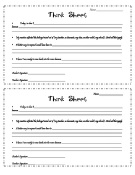 Think Sheet for Class Re-entry