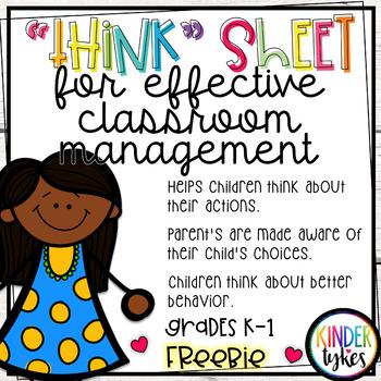 Think Sheet for Classroom Management Grades K-1