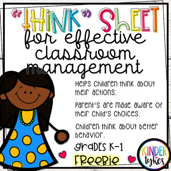 Think Sheet for Classroom Management Grades K-1