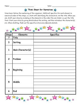 Think Sheet for Narrative Writing