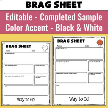 Editable Behavior Reflection Sheets for Positive and Negative Behaviors