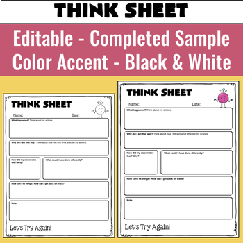 Editable Think Sheets for Positive and Negative Behaviors