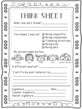 Think Sheets and Reflection Sheets