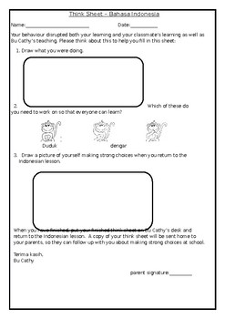 Think Sheets (for your pre-literate students)