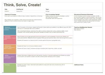 Think, Solve, Create! Math and Free Writing