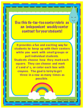 Think Spring... Math and Literacy Centers with Tic-Tac-Toe Rubric