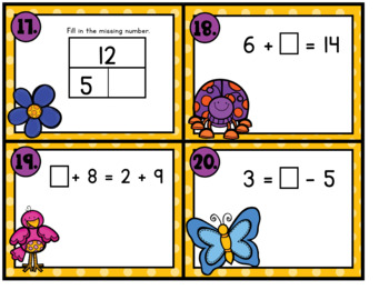 Think Spring! Scoot:  Missing Addends and Balanced Equations
