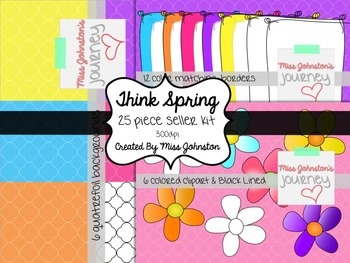 Think Spring Seller Kit {Clipart Art, Borders, Background}