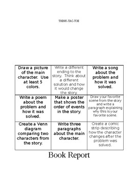 Think Tac Toe Book Report