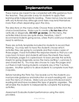 Think-Tac-Toe Choice Menu, Fiction Reading Skills (Grades 4-5)