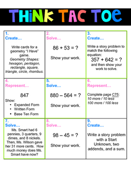 Think Tac Toe- Differentiation
