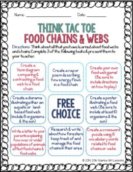 Think Tac Toe - Food Chains & Webs