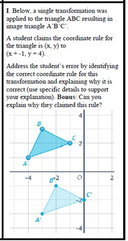 Think-Tac-Toe Geometric Transformations Assessment