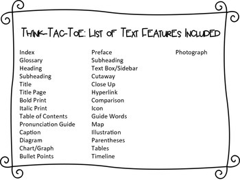 Think-Tac-Toe: Nonfiction Text Features Edition