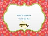 Think Tac Toe Review Math choice menu