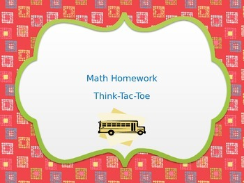 Think Tac Toe Review Math choice menu