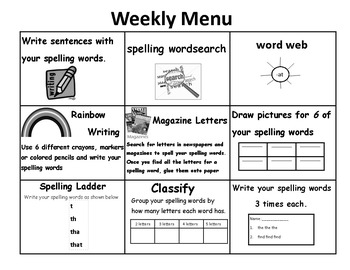 Think Tac Toe (Weekly Menu) --spelling or vocabulary words
