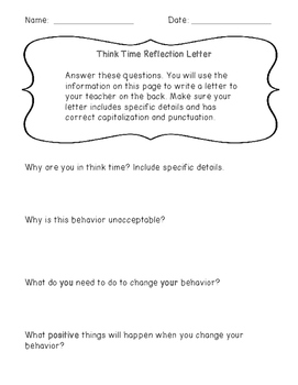 Think Time/Behavior Reflection Letter for Grades 3rd-5th