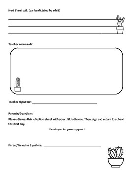 Think Time - Behavior Reflection Sheet (1-2) Cactus Theme