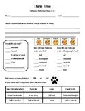 Think Time - Behavior Reflection Sheet (1-2) Pawprint Theme