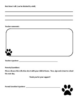 Think Time - Behavior Reflection Sheet (1-2) Pawprint Theme