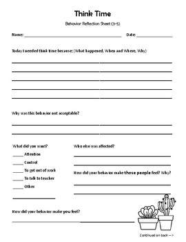Think Time - Behavior Reflection Sheet (3-5) Cactus Theme