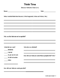 Think Time - Behavior Reflection Sheet (3-5) No theme