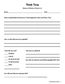 Think Time - Behavior Reflection Sheet (3-5) No theme