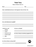 Think Time - Behavior Reflection Sheet (3-5) Pawprint Theme